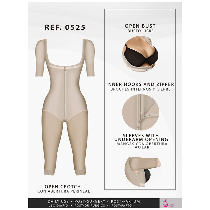 Fajas Salome 0525 | Post Surgery Bodysuit Full Body Shaper for Women | Tummy Control Butt Lifter Knee Length Shapewear with Sleeves | Powernet  - Pal Negocio
