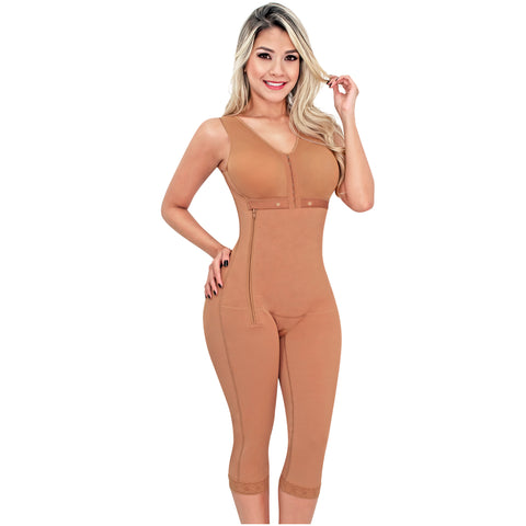 Fajas SONRYSE 010 | Colombian Shapewear Knee Lenght with Built-in bra & High Back | Post Surgery and Postpartum Use - Pal Negocio
