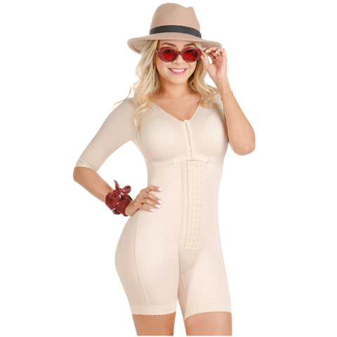 Fajas SONRYSE TR103 Colombian Shapewear  Bodysuit with Bra | Post Surgery Body Shapers with Sleeves | Stage 1 Faja  / Triconet