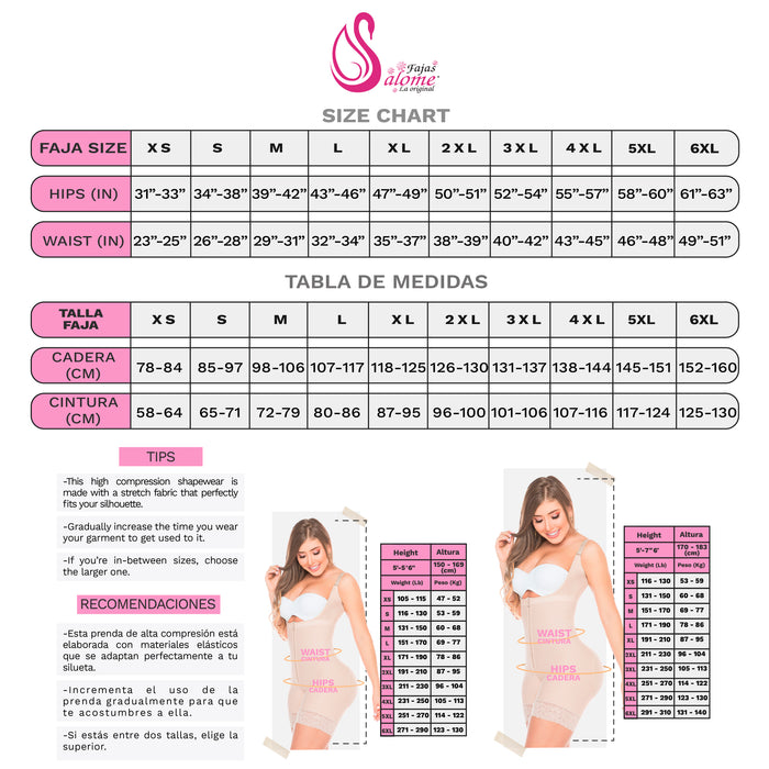 Fajas Salome 0412 | Strapless Butt Lifting Shapewear Girdle for Dresses | Daily Use Body Shaper - Pal Negocio