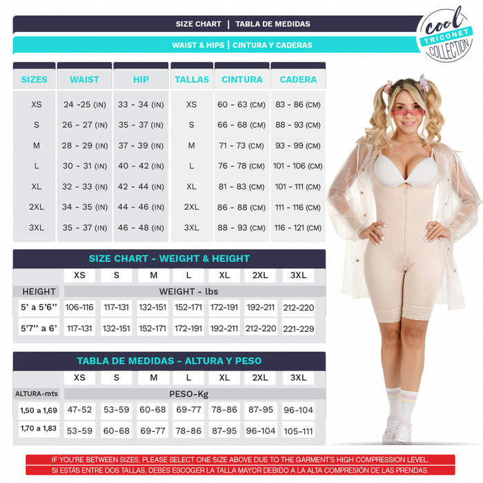 Fajas SONRYSE TR97ZF | Colombian Mid-Thigh Open Bust Shapewear | Post Surgery and Daily Use | Triconet