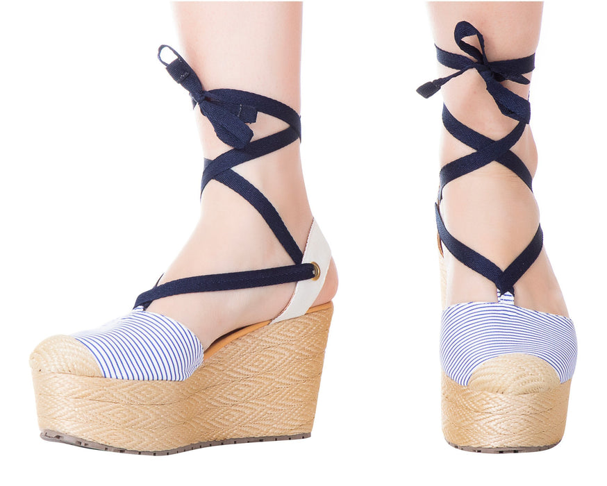 Silvia Cobos Lace Up Blue Stripes - Pal Negocio