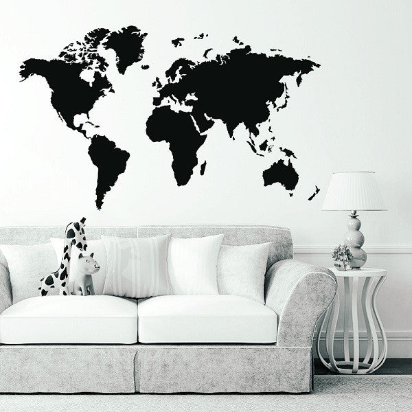 Large World Map Removable Wall Sticker - ModiDen