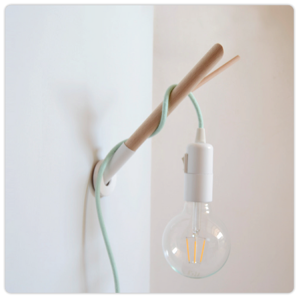 Minimalist Wooden Lamp Hook and Colored Fabric Cable