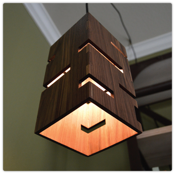 Geometric Wooden Square Hanging Lamp - ModiDen