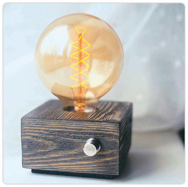 Rustic Wooden Square Table Lamp