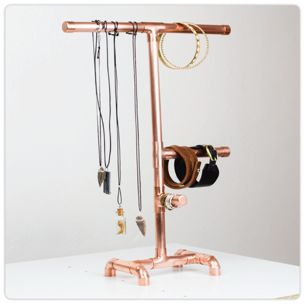 Copper Pipe Jewelry Stand