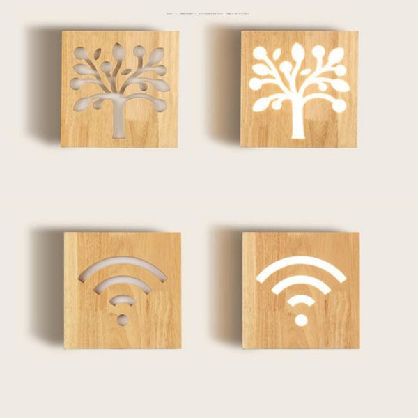 Engraved Wooden Wall Lamp - ModiDen