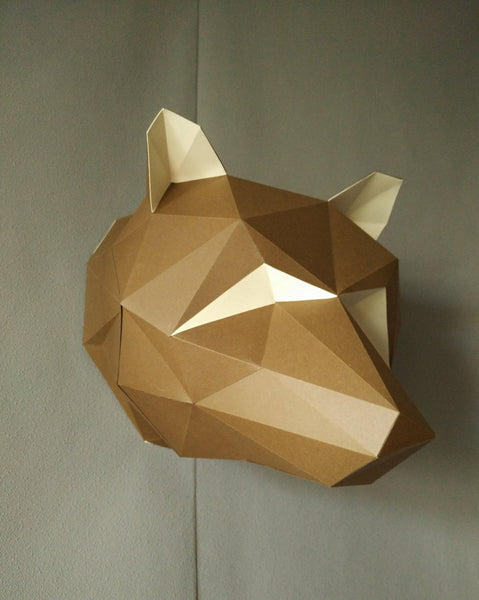 DIY Paper Wall Art - Trophy Bear Origami - ModiDen