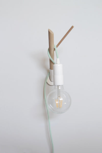 Minimalist Wooden Lamp Hook and Colored Fabric Cable - ModiDen