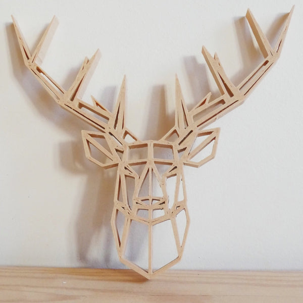 3D Printed Wooden Geometric Deer - ModiDen
