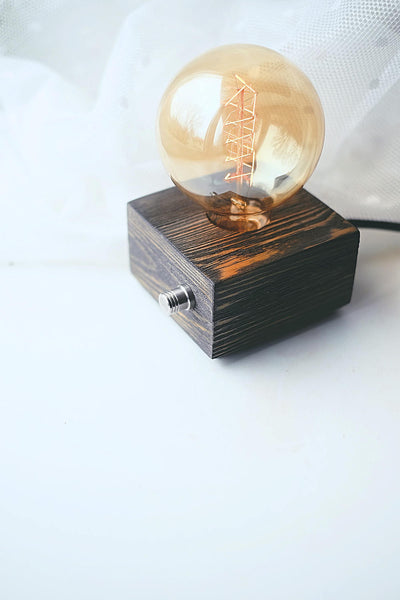 Rustic Wooden Square Table Lamp - ModiDen