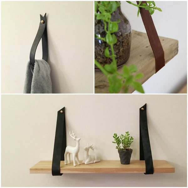 Black or Brown Leather Strap Hanger - ModiDen
