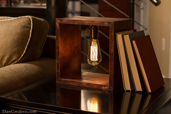 "Wooden Square Rustic Table Lamp - ""Shadow Box"" - ModiDen"