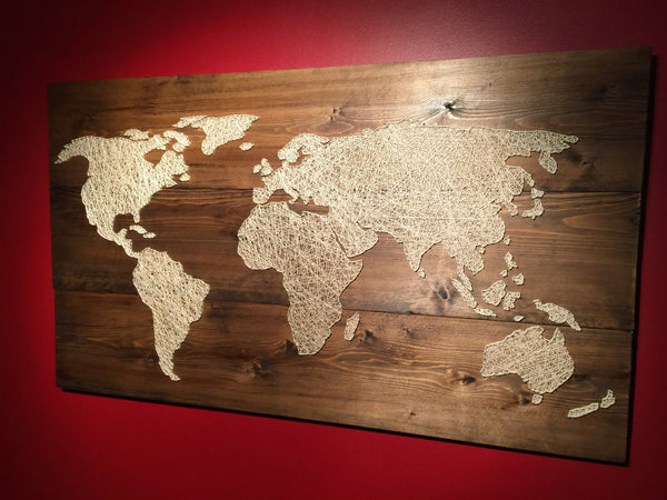 Wooden String Art - World Map - ModiDen