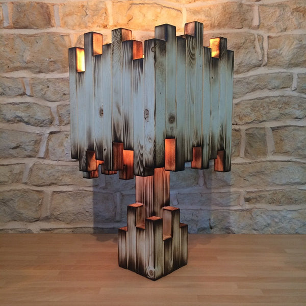 Rustic Burnt Style Wooden Table Lamp - ModiDen