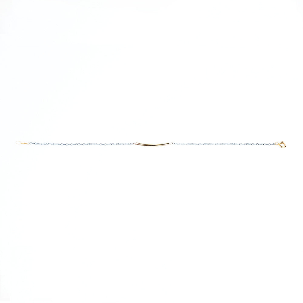 Elegant Gold Bead Bracelet On Smoke Colored Silver Chain