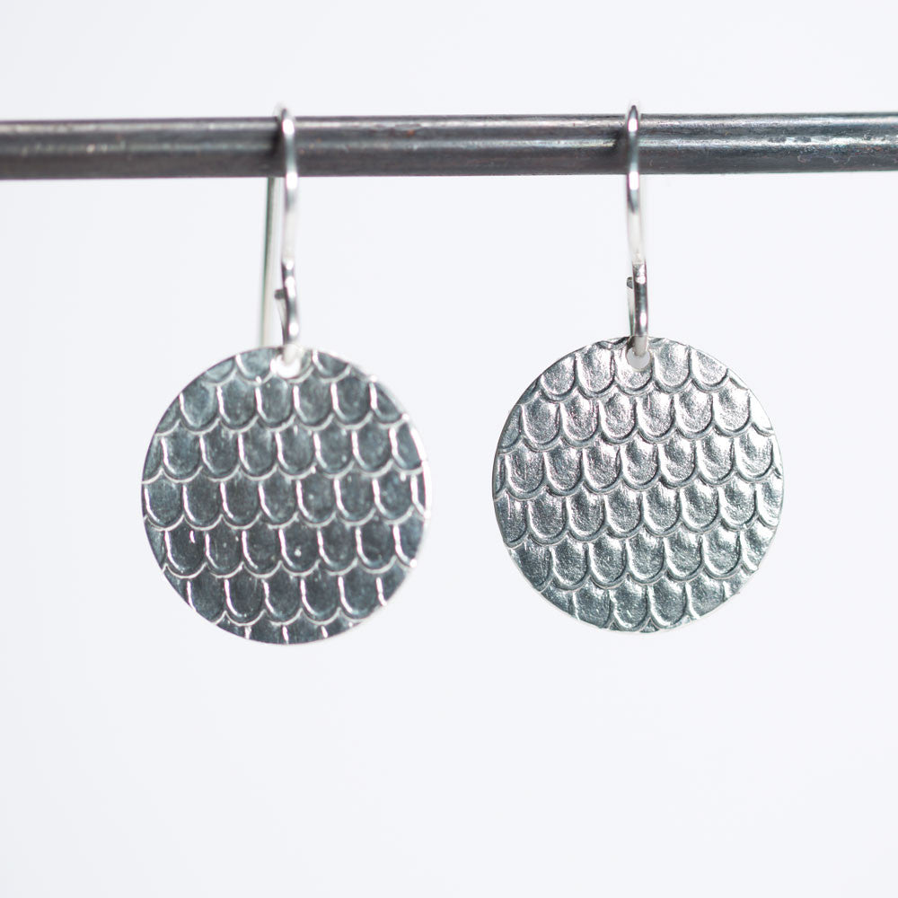 Delicate Scale Pattern Circle Earrings - Sterling Silver