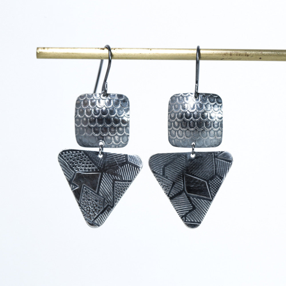 Double Drop Pattern Square & Triangle Earrings - Oxidized Silver
