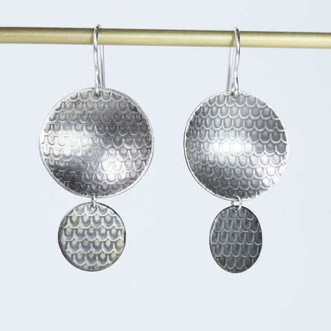 Double Drop Fan Print Concave Earrings -  Oxidized Silver