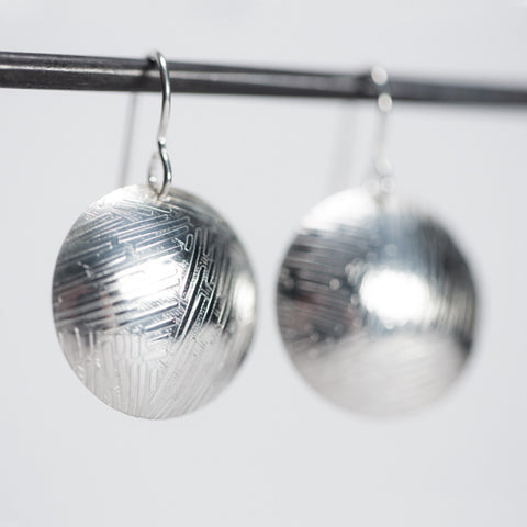 Confetti Dome Pattern & Round Earrings - Oxidized Sterling Silver
