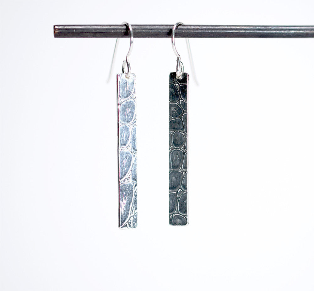 Chic Alligator Skin Pattern Oxidized Strip Earrings - Sterling Silver