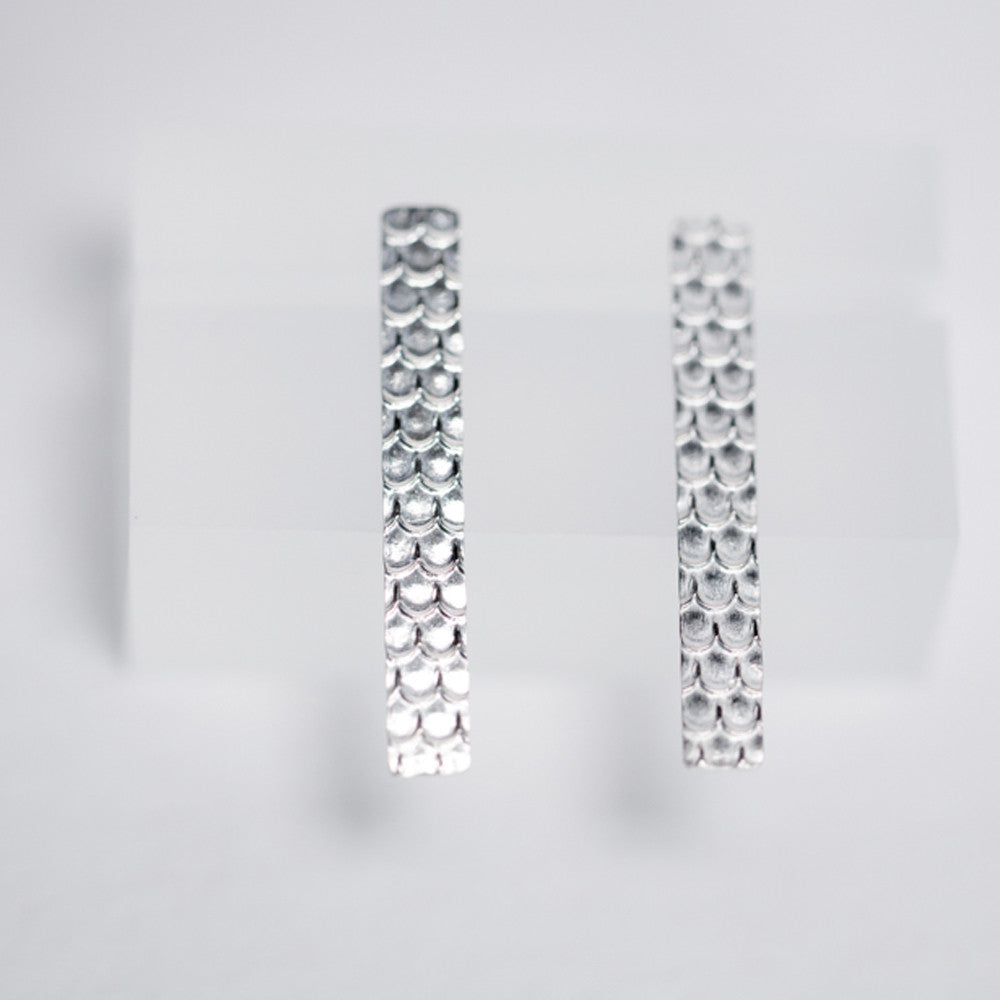 Modern + Elegant Fan Scale Pattern Stud Earrings - Sterling Silver