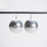 Confetti Dome Pattern & Round Earrings - Sterling Silver