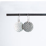 Effervescent Round Pebble Design Earrings - Sterling Silver