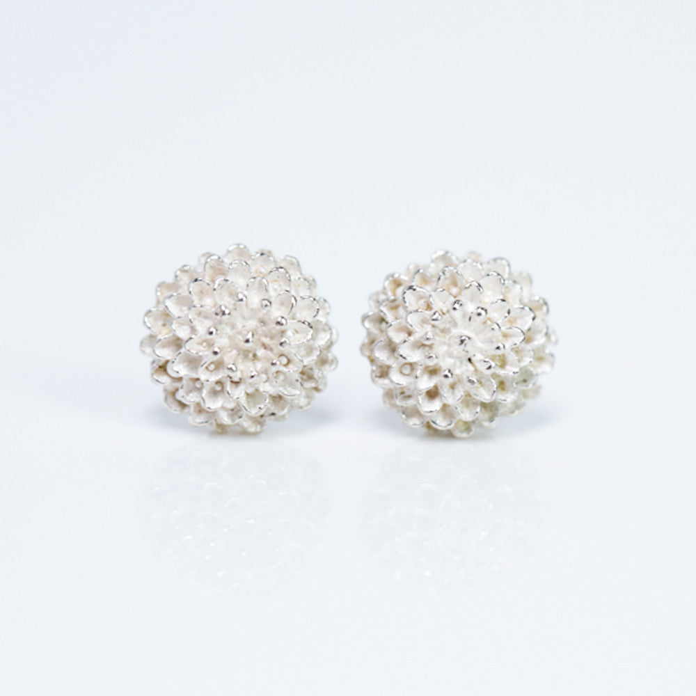 Sterling Silver Chrysanthemum Stud Earrings