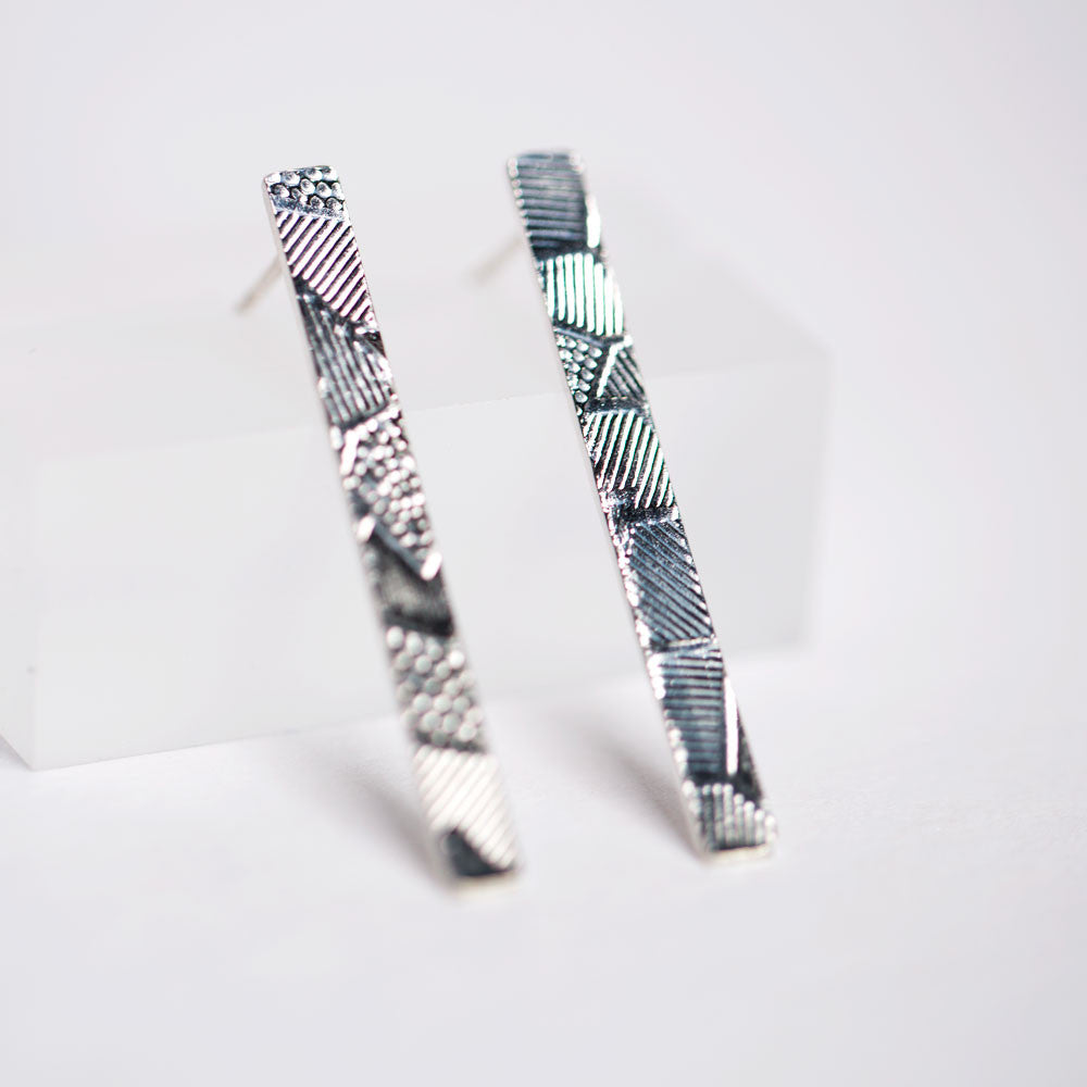 Exciting Geometric Pattern Stud Earrings - Sterling Silver
