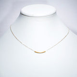 Delicate Gold Bar Necklace - Sterling Silver