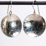 Rain Water Drop Pattern Round Dangle Earrings - Sterling Silver