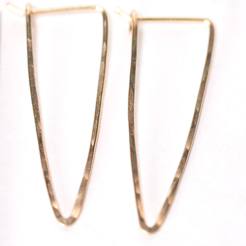Simple Faceted Gold 'V' Earrings - Gold Filled