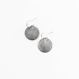 Polka Dot Drops Round Earrings- Sterling Silver or Oxidized Silver