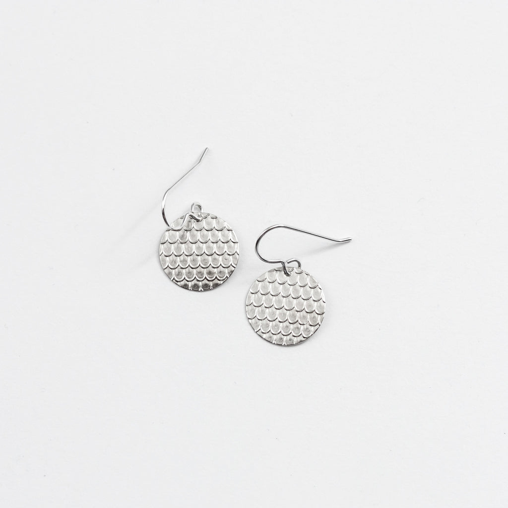 Delicate Fish Scale Fan Pattern Drop Earrings - Sterling Silver