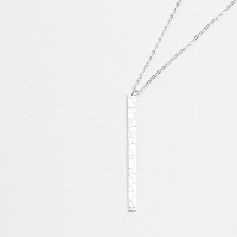 Silver Stream Pattern Long Pendant Necklace