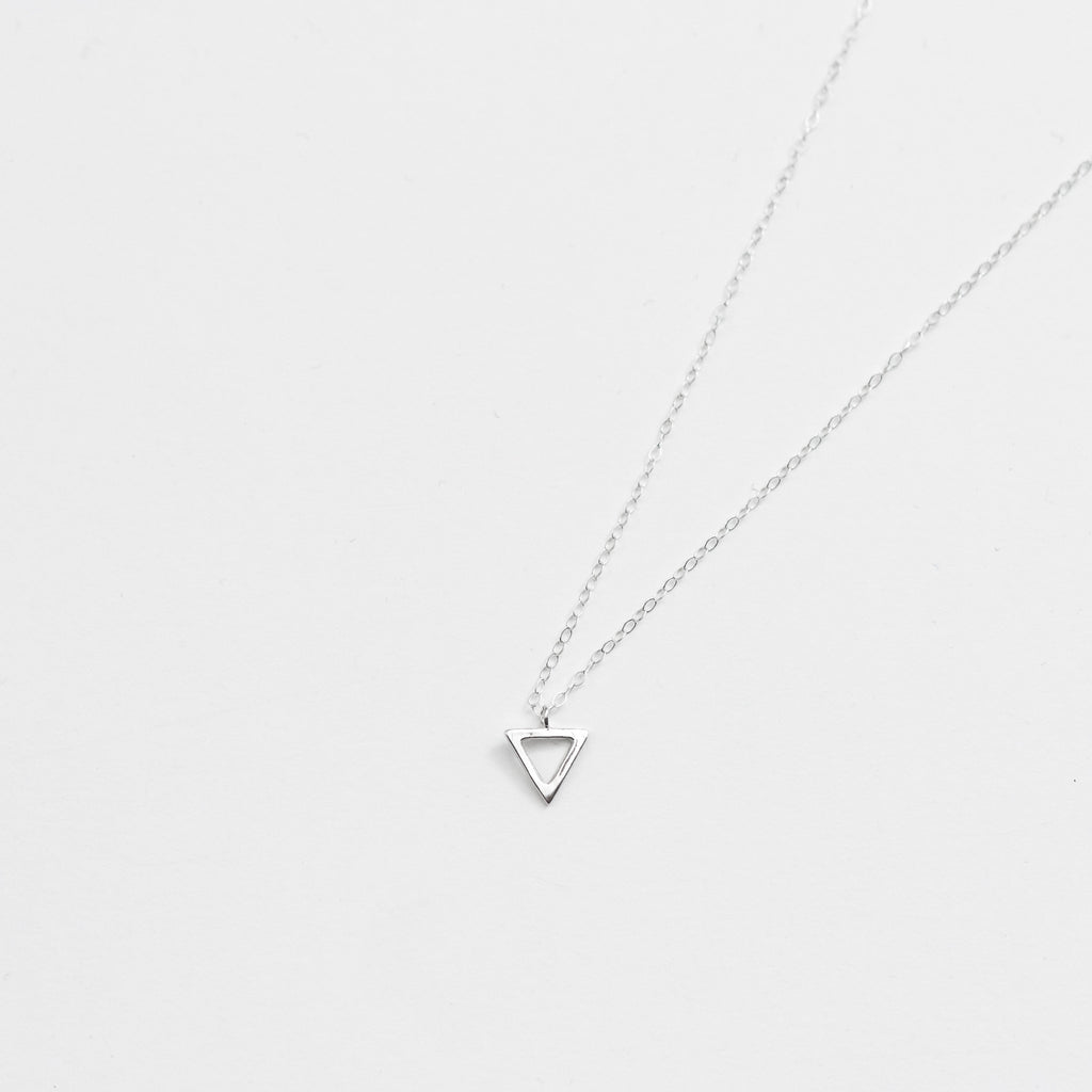 Delightful and Delicate Sterling Silver Triangle Pendant Necklace