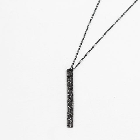 Striking Alligator Skin Pendant Necklace - Sterling Silver