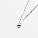 Delightful and Delicate Oxidized Silver Triangle Pendant Necklace