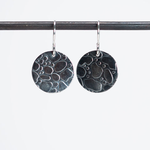 Demure Rain Water Droplets Earrings - Oxidized Silver