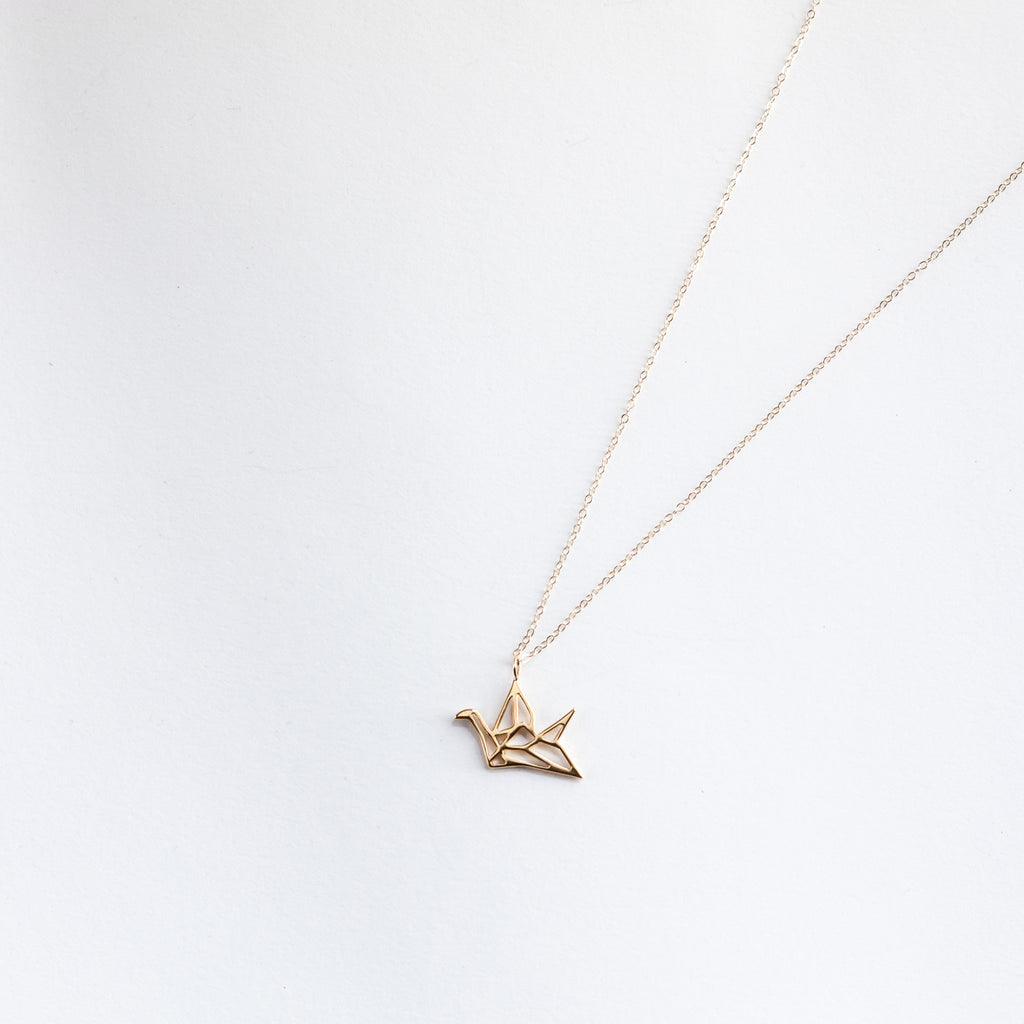 Origami Crane Pendant Necklace - Sterling Silver or Gold Plated