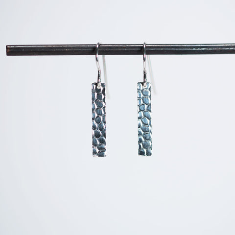 Cobblestone Pattern Strip Earrings - Sterling Silver