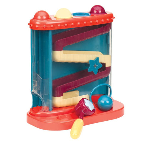 Battat Pound & Roll is a sensory toy promoting hand-eye coordination and fine motor skills.