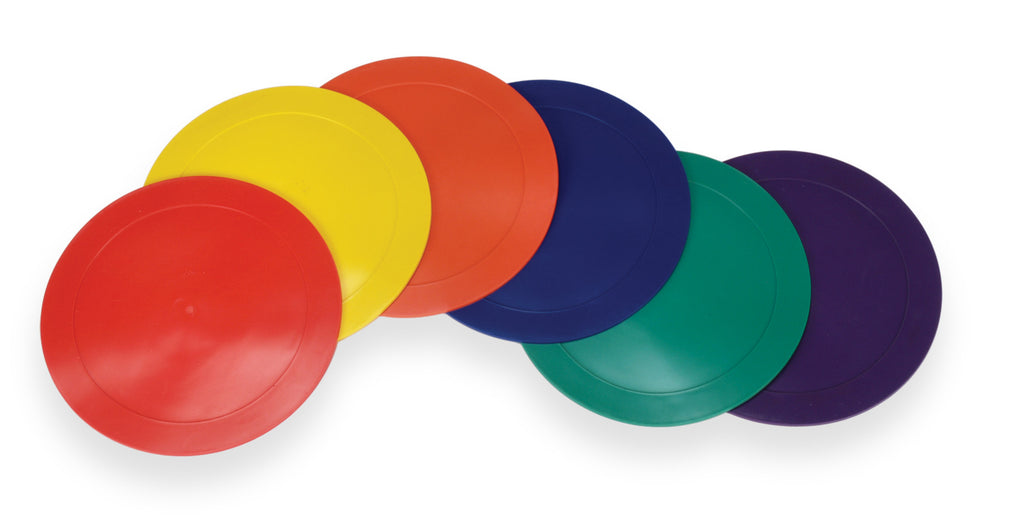 American Educational Products Marker Rounds 9 inch (Set of 6) are a learning tool promoting balance, color identification, hand-eye coordination, and exercise.