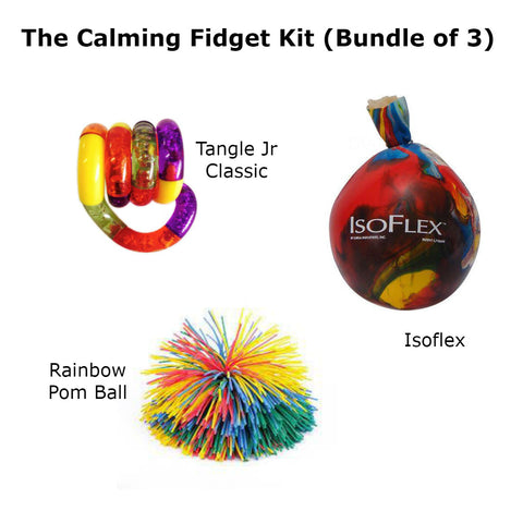 Calming Fidget Kit (Bundle of Isoflex, Tangle Jr. Classic, & Rainbow Pom Ball) Special Needs Essentials specialneedsessentials