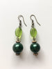 Pale and Emerald Green Earrings