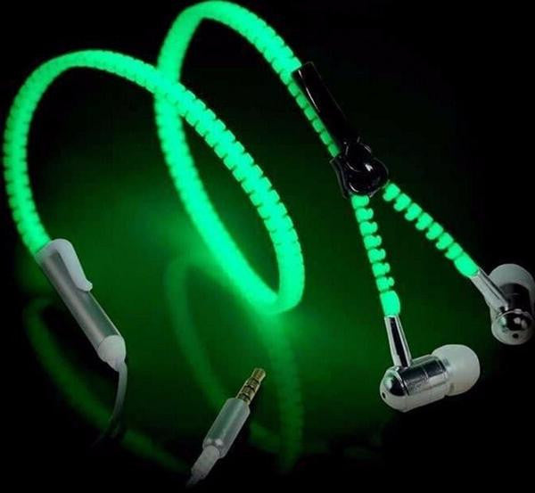 Glow in the Dark Zipper Earphones Z9