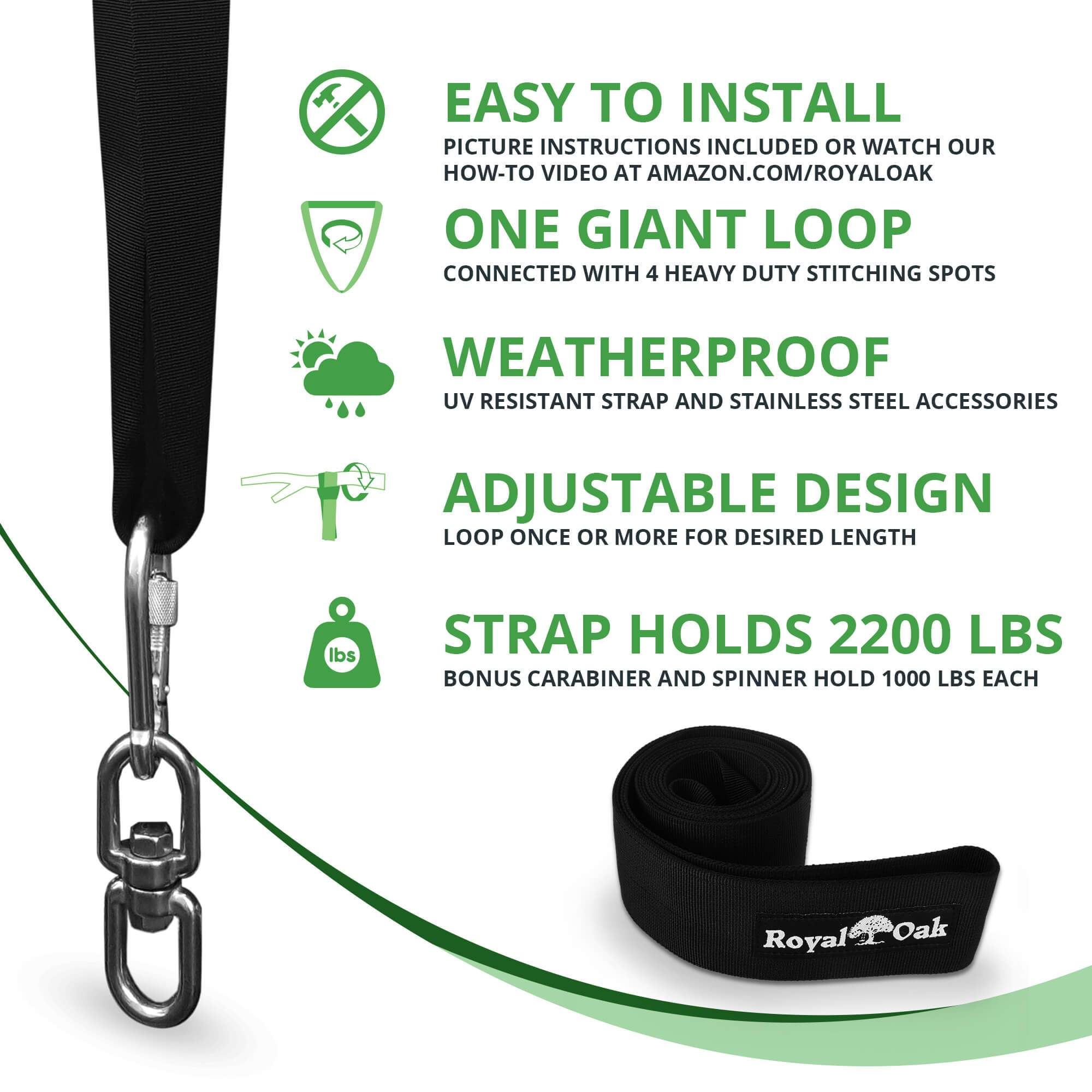 Best Tree Swing Hanging Kit Large Carabiners /& D Rings DCAL Trading Easy 30 Sec Install on Outdoor Toys Fits Hammocks /& Most Swing Seats Safe Better Than Chain or Rope Two 5 ft Tree Straps Hold 2000 lb