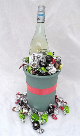 chocolate and wine in terracotta cooler